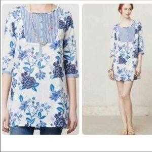 Anthropologie Mermaid Sea Holly Floral Tunic Top